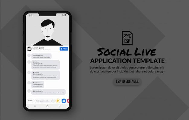 Plantilla de transmisión en vivo de redes sociales, reproductor de video de aplicación moblie
