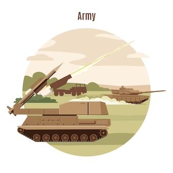 Plantilla de transporte militar terrestre