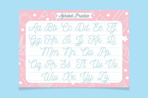 Plantilla de trazado de alfabeto creativo con elementos escolares dibujados