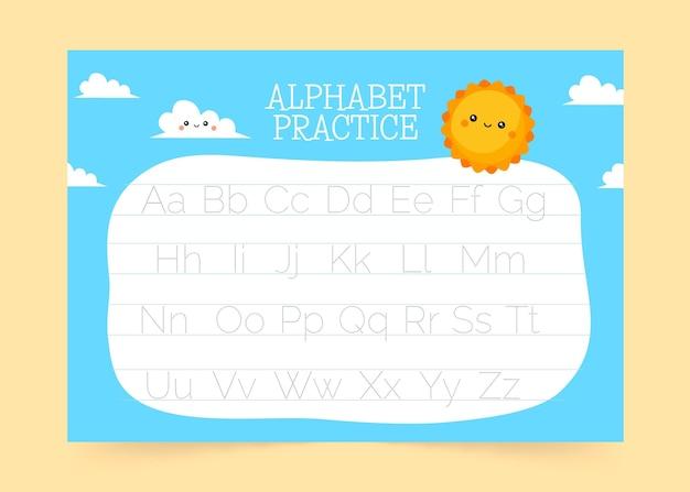 Plantilla de trazado de alfabeto creativo con sol sonriente