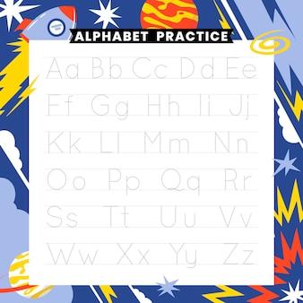 Plantilla de trazado de alfabeto educativo para niños