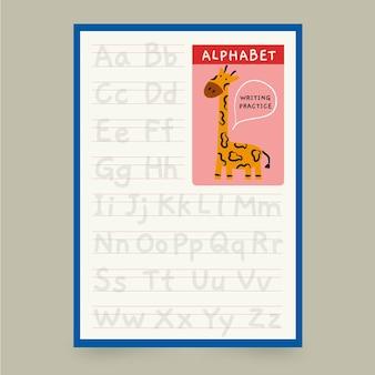 Plantilla de trazado de alfabeto minimalista con jirafa