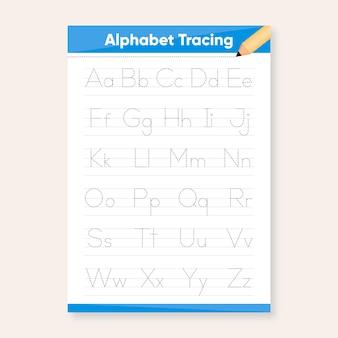 Plantilla de trazado de alfabeto minimalista
