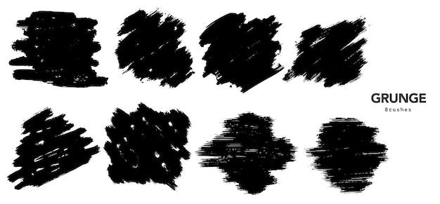 Plantilla de trazo de pincel grunge negro