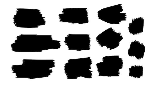 Plantilla de trazo de pincel de pintura grunge negro