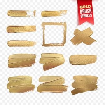 Plantilla de trazos de pincel de pintura de oro aislado sobre fondo blanco.