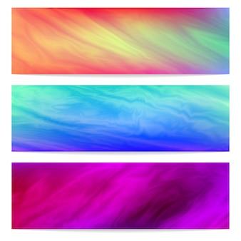 Plantilla de tres banners horizontales con fondo fluido abstracto.