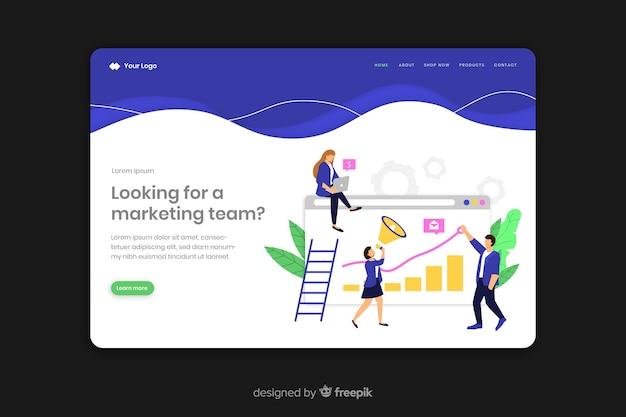 Plantilla tridimensional de landing page de negocios