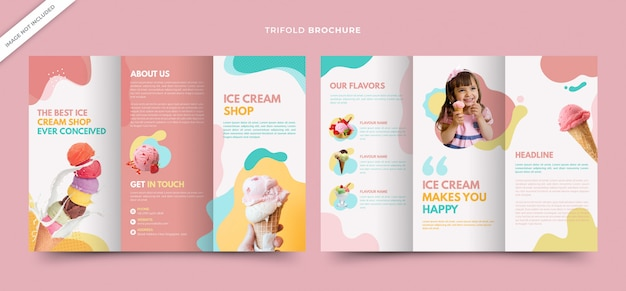 Plantilla tríptica de folletos de batidos para ice cream shop