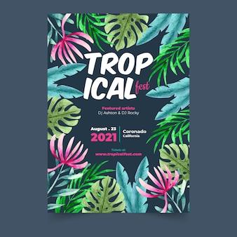 Plantilla tropical flyer fiesta