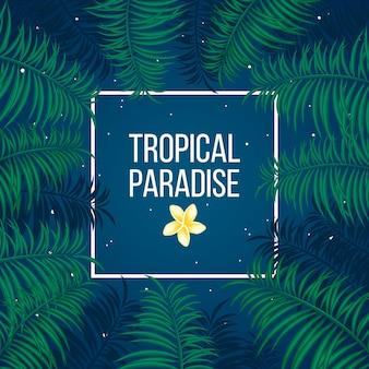 Plantilla tropical del fondo del paraíso de la noche estrellada