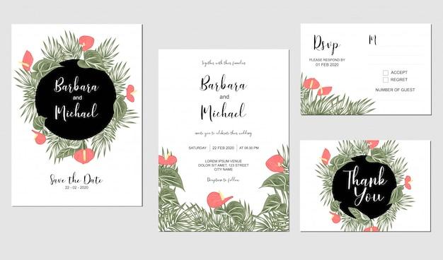 Plantilla tropical de la invitación de la boda de la flor del lirio de anthurium
