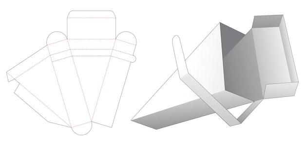 Plantilla troquelada de caja de embalaje triangular con tapa superior con cremallera