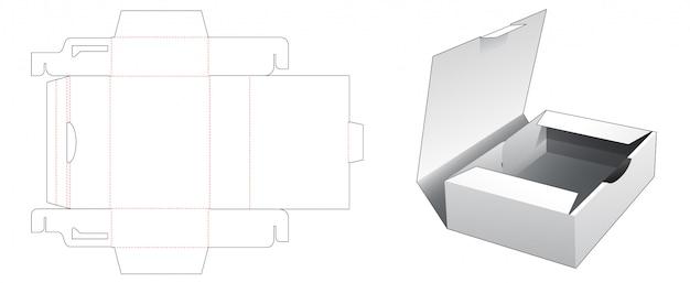Plantilla troquelada de caja de envase de pastel de 1 pieza