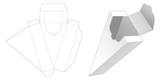 Plantilla troquelada de caja de forma triangular con cremallera