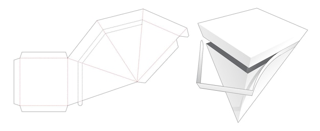 Plantilla troquelada de caja piramidal con cremallera