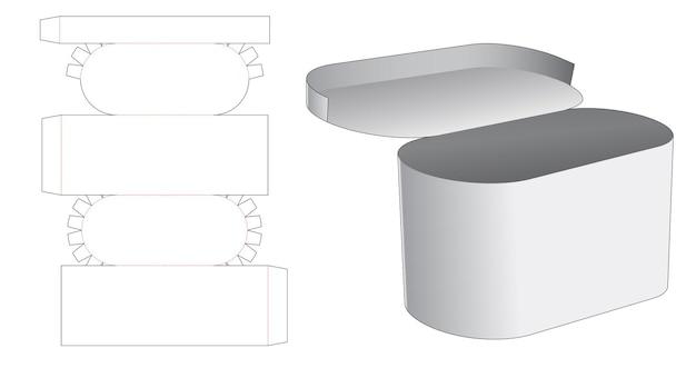 Plantilla troquelada de caja redonda con tapa superior