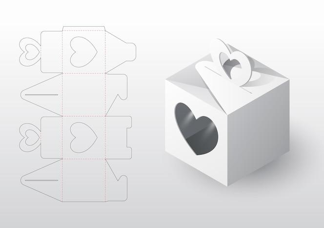 Plantilla troquelada de embalaje de caja realista