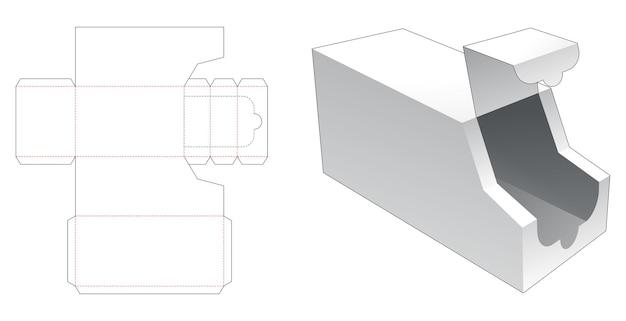 Plantilla troquelada de embalaje en forma de camión con cremallera