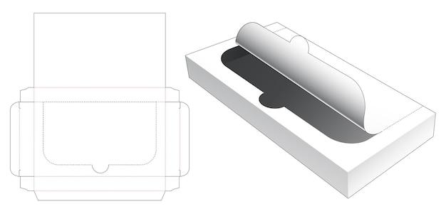 Plantilla troquelada de embalaje rectangular de estaño con cremallera