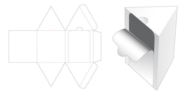Plantilla troquelada de embalaje triangular con cremallera