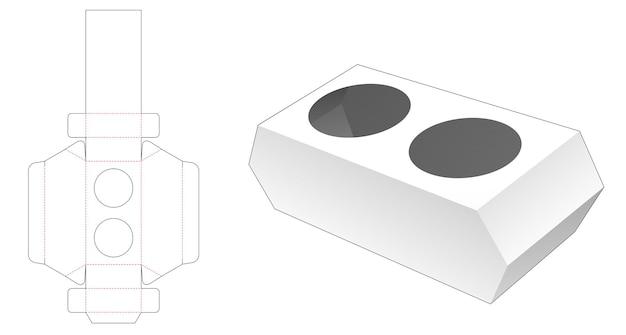 Plantilla troquelada hexagonal de 2 tapas de recipiente de café