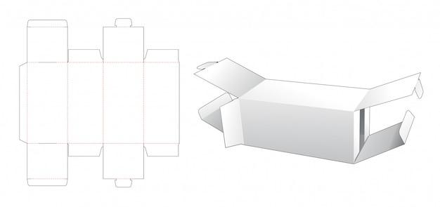 Plantilla de troquelado de 2 cajas de embalaje con tapa