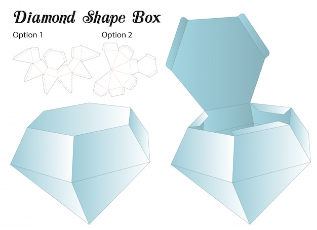 Plantilla de troquelado de caja de forma de diamante