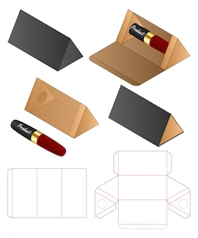 Plantilla de troquelado de embalaje de bolsa de papel con forma de triángulo