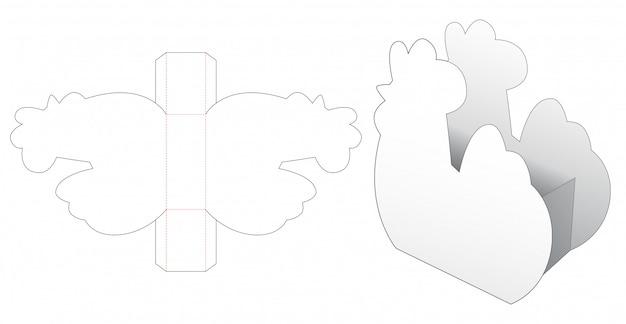 Plantilla de troquelado de embalaje en forma de gallina