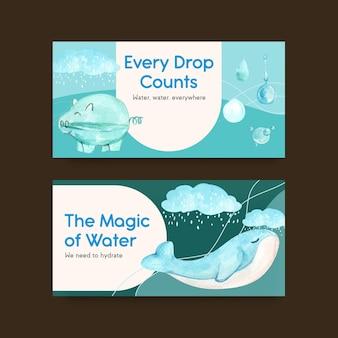Plantilla twister con diseño de concepto del día mundial del agua para redes sociales e ilustración de acuarela comunitaria