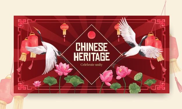 Plantilla twister con diseño de concepto de feliz año nuevo chino con redes sociales e ilustración acuarela comunitaria