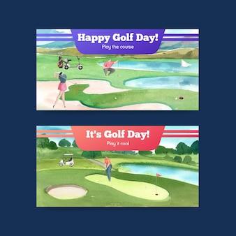 Plantilla de twitter con amante del golf en estilo acuarela
