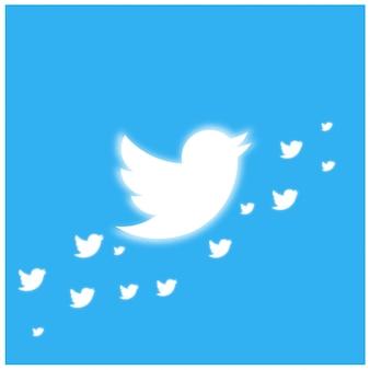 Plantilla twitter bird glowing banner