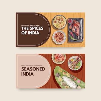Plantilla de twitter con comida india
