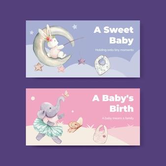 Plantilla de twitter con concepto de hola bebé