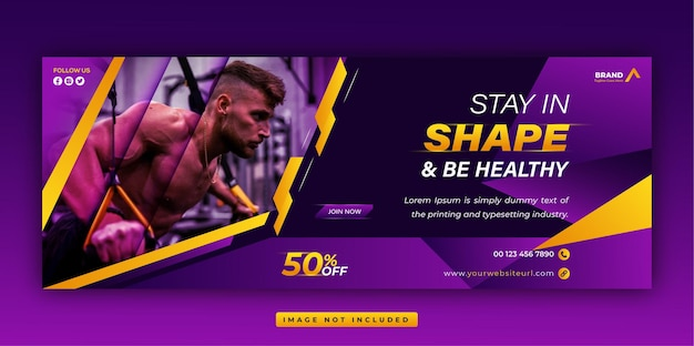 Plantilla única de banner web y portada de facebook de redes sociales promocionales de gimnasio y fitness