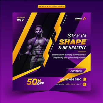 Plantilla única de banner web y publicación de instagram promocional de gimnasio y fitness