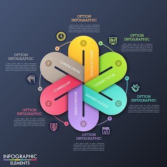 Plantilla única de diseño infográfico con seis elementos con letras conectados entre sí en un diagrama redondo, pictogramas de línea delgada y cuadros de texto.