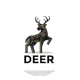 Plantilla única de logotipo de ciervo robótico