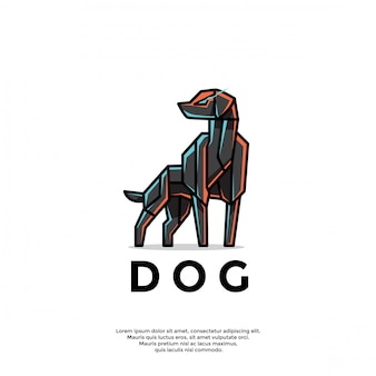 Plantilla única de logotipo de perro robótico