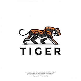 Plantilla única de logotipo de tigre robótico