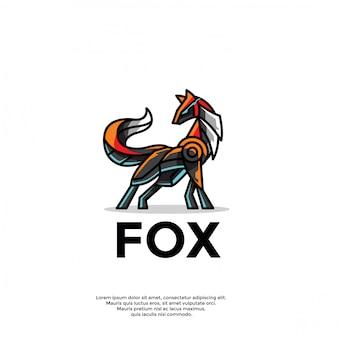 Plantilla única de logotipo de zorro robótico