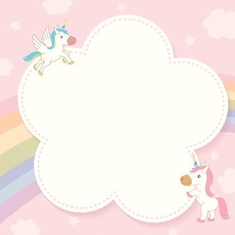 Plantilla de unicornio y arco iris.