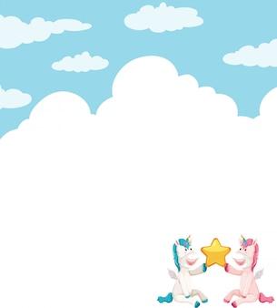Plantilla de unicornio en el cielo