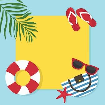 En plantilla de vacaciones de verano. fondo de pantalla, desolladores, invitación, tarjetas, folleto, diseño de vales