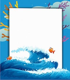 Una plantilla vacía en el mar con peces