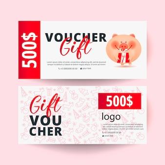 Plantilla de vale de regalo con cerdo y una caja de regalo. 500 dólares