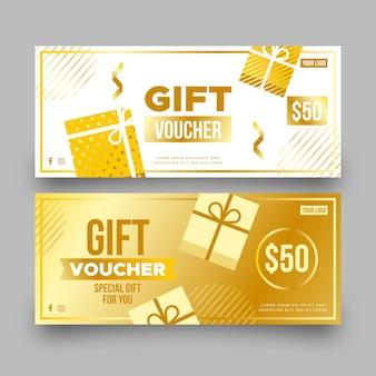 Plantilla de vale de regalo dorado con cajas de regalo