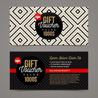 Plantilla de vale de regalo con elementos de oro brillo. ilustración.